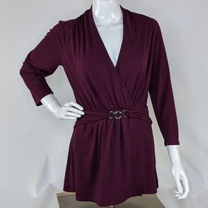 White House Black Market Purple Blouse Sz M